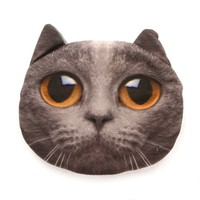 Grey Chartreux Kitty Cat Face Shaped Coin Purse Make Up Bag with Large Yellow Eyes