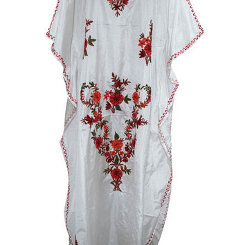 Boho Caftans Kashmiri Embroidered White Silk Kaftan Designer Long Maxi Dress Xxxl