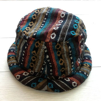 Hippie Men hat, Pork pie rolled brim, Hipster Style, Boho Bohemian hat, Handmade Gift ideas, Eco friendly Bucket Hat