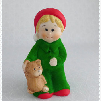Flocked Figurine, Little Boy with Teddy Bear, Vintage Jasco, Bisque Porcelain, Blonde Boy Bell, Christmas Decor, Fuzzy Figure, Green and Red