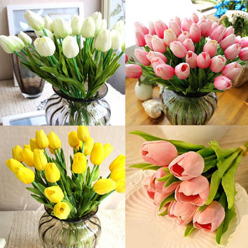 Hot Delightful Pretty Real Touch PU Tulips Flower Single Stem Bouquet Centerpiece Room Party Wedding Decor Free Shipping