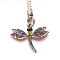 Cell Phone/ Camera / Bag/ Charm Strap Beautiful Colorful Diamond Dragonfly