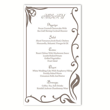 Wedding Menu Template Diy Menu Card From Thedesignsenchanted On