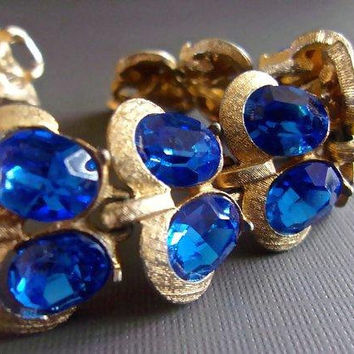 Blue Rhinestone BOUCHER MARBOUX Bracelet, Double Row, Gold Tone, Vintage