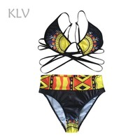 Women Swimsuit Swimwear Bikini Set Low Waist Polyester Swimwear Female Wire Free Printed Summer Sexy Beachwear Drop Ship #Z25