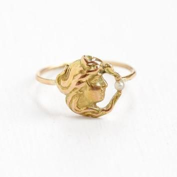 Antique 14k Rose Gold Art Nouveau Woman and Seed Pearl Ring - Vintage Early 1900s Edwa
