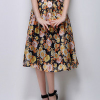 Yellow Retro High Waist Skirt With Floral Print