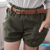 Free Belt Nifty Style Bowknot Pockets Design Elastic Waist Woolen Shorts Army Green-Wholesale Women Fashion From Icanfashion.com