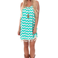 Jade Chevron Tank Dress with Fringe Trim