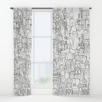 Russian cathedral church line drawing Window Curtains by Color and Color