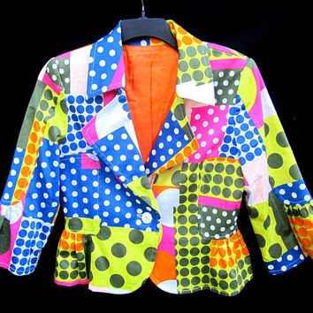 Ladies Mod Blazer Jacket Polka Dots MultiColor Lined Button Flared Sleeve Hippie Cool Style