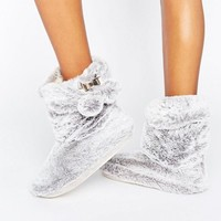 River Island Faux Fur Slipper Boots at asos.com