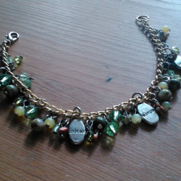 Re-made, green keyring bracelet