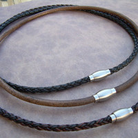 Mens Leather Necklace with Stainless Steel Magnetic Clasp, Mens Jewelry, Mens Necklace