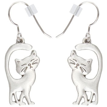 Cat Walking With Tail Up Pewter Fishhook Earrings