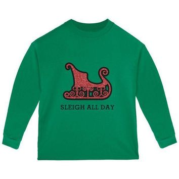 ICIK8UT Christmas Sleigh Slay All Day Toddler Long Sleeve T Shirt