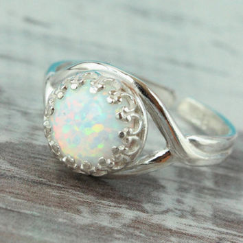 Opal ring sterling silver ring adjustable size 6-8, 8 mm simulated white opal in crown setting, Valentine's Day gift, October birthstone