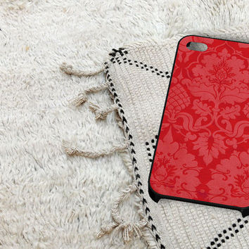 Light Red Damask Pattern iPhone 5 iPhone 4 / 4S Plastic Hard Case Soft Rubber Case
