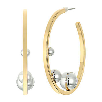 Rebecca Minkoff Three Pearl Hoop Earrings