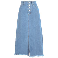Fringed Button Fly Denim Skirt