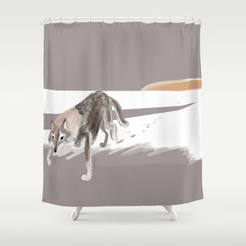 Wolves of the World: Russian Wolf (Canis lupus communis) (c) 2017 Shower Curtain by Belette Le Pink