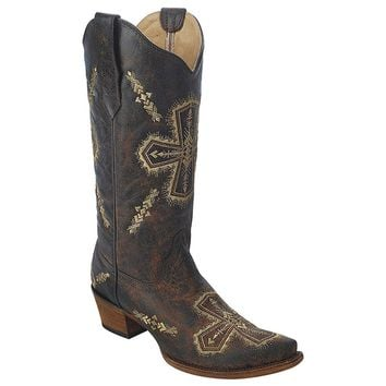 New Circle G By Corral Women's Cross Embroid Western Boot Brn Crackle/Bone
