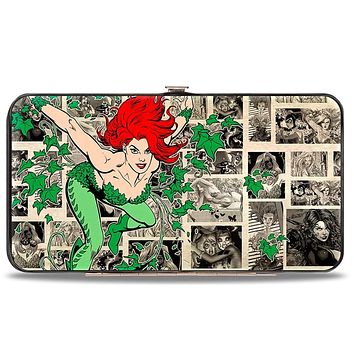Poison Ivy Pose + Logo Ivy Comic Scenes Grays Greens Hinged Wallet  One Size