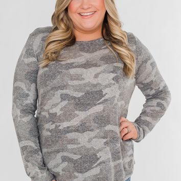 Cut Out Back Long Sleeve Camo Top- Grey