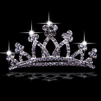 Silver Princess Wedding Bridal Prom Queen Crowns Tiaras Wholesale  SKU-10808012