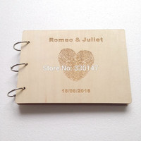 Rustic Love Fingerprint Guestbook Personalized Photo Album Custom Scrapbook Decor Wedding Guestbook 25 Sheets (50 pages) A5 21cm