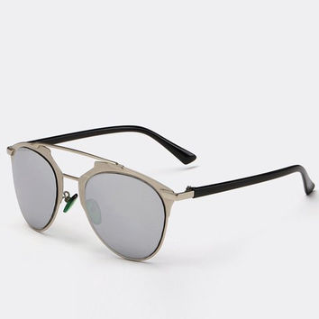 Silver Gray Full Frame Design Sunglasses with Alloy Bar