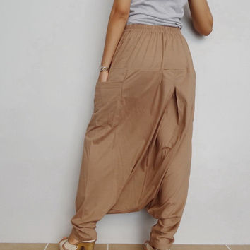 Drop crotch with Zipper long trouser,Unisex harem baggy unique pants,Khaki in cotton blend (Drop Zip-2).