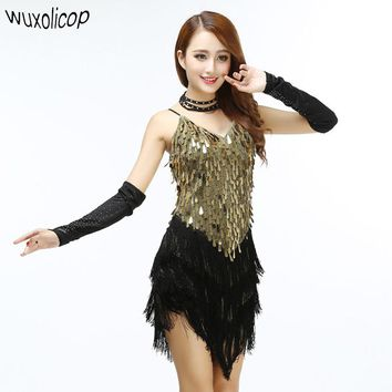 Shining V Neck Stage Clothing Costume Latin Dance Dresses Women's Art Gatsby Tassel Fringe Flapper Backless Dress