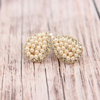 Tear Drop Pearl and Rhinestone Earrings