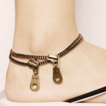Zipper Fashion Statement Anklet (Ankle Bracelet) | LilyFair Jewelry