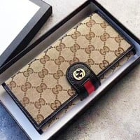 GUCCI New fashion more letter leather wallet purse women Black