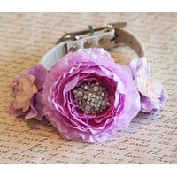 Peach and Lavender wedding Floral Dog Collar, Peach and Lavender accessory