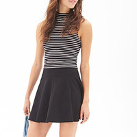 FOREVER 21 Striped High-Neck Top Black/Cream