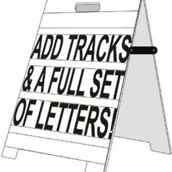 "Wood Vinyl Skin A-Frame 24""x32"" Sidewalk Sign W/ Letter Tracks & Letter Kit"