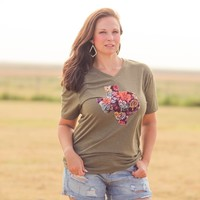 Ophelia Tee in Texas Olive