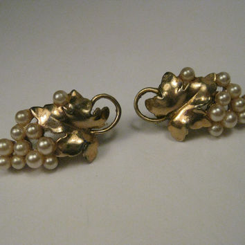 Vintage Gold Tone Faux Pearl Grape Cluster & Leave Screw Back Earrings, 1940's