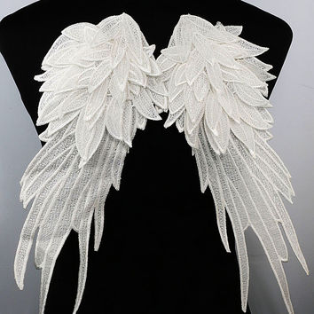 White Venise Embroidery Butterfly Wings Lace Fabric Shoulder Dorsal Sewing Applique DIY Handmade Costume Decoration Supplies