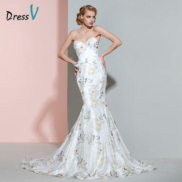 Dressv printing mermaid wedding dress sweetheart bowknot pattern zipper up court train trumpet wedding dress print bridal gown