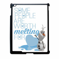 Olaf Quote Melting The Disney Frozen Pink Blue Chevron iPad 3 Case