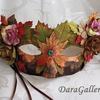 Autumn Colored Mulberry Flower Masquerade Mask