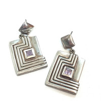 Sterling Silver Modernist Earrings, Rectangular Dangles & Square Amethyst Cabs, Geometric Design, Pierced Earrings, 1990s Vintage Jewelry