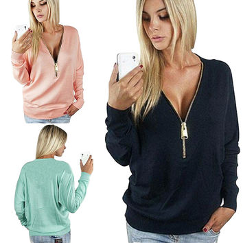 Sexy V-neck t shirt women long sleeve Top solid color autumn female casual t- Shirt camiseta feminina blusa women clothing STS1