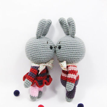 couple Rabbit,animal friends,Amigurumi,crochet doll, PDF pattern