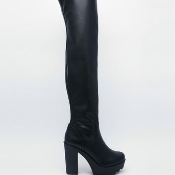 River Island Bailey Stretch Otk Heeled Boots at asos.com