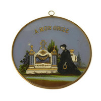 Antique Mourning Plaque. French Memento Mori. French Grave Marker Reverse Painting On Glass. Victorian Mourning Tomb Plaque.